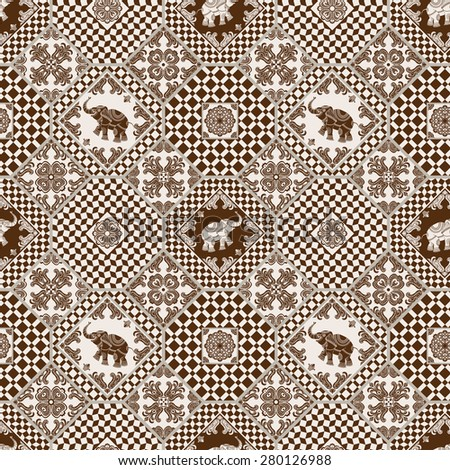 Abstract seamless patchwork background from dark brown and light beige ornaments, geometric Moroccan patterns, stylized flowers, leaves and white elephant ornate silhouette  - stock photo