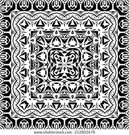Abstract seamless pattern, black contours isolated on white background.  - stock photo
