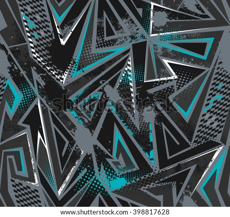 Abstract seamless pattern for boy. Dangerous modern geometric background with squares, blue, grey and black colors. Grunge urban wallpaper with speed motion elements, shapes, brush, spray, drops. - stock photo