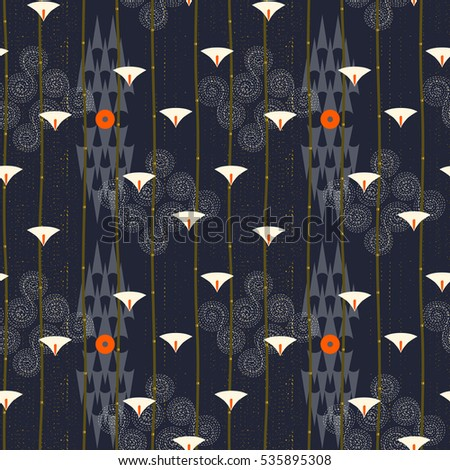 Abstract seamless pattern. Modern style motif. Lotus flowers, water lily and geometry elements on dark blue background