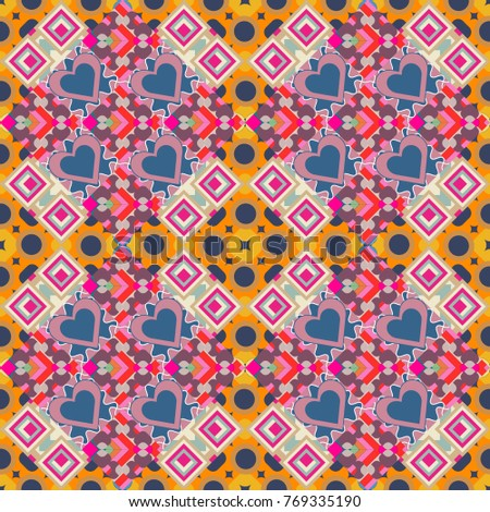 Abstract seamless pattern of a plurality stylized elements in orange, beige and blue colors. Textured background.