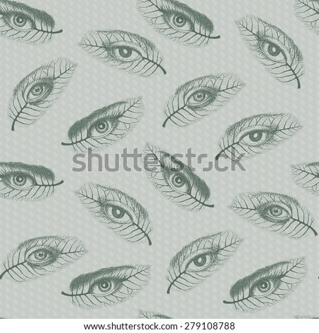 abstract seamless pattern of delicate walnut leaves with hand drawn human  eyes on light green grey background with rain water drops - stock photo