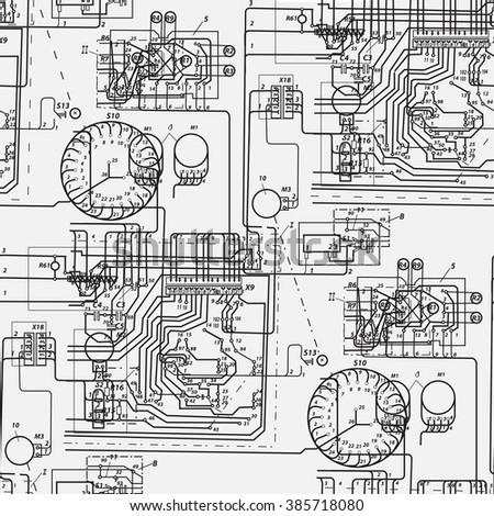 stock photo abstract seamless pattern on the theme of science and electrical engineering black fantastic 385718080 wiring diagram stock images, royalty free images & vectors electrical engineering wiring diagrams at readyjetset.co