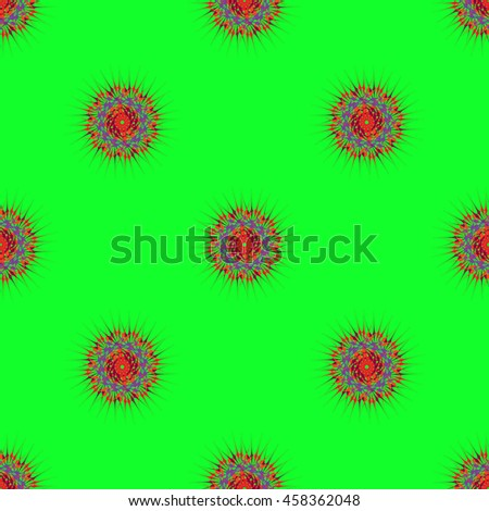 Abstract seamless pattern with bright multibeam fractal mandala on a light green background - stock photo