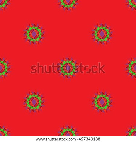 Abstract seamless pattern with bright multibeam fractal mandala on a red background - stock photo