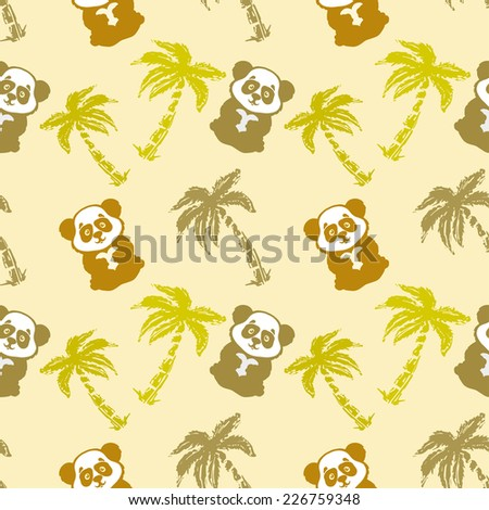 Abstract seamless pattern with cute panda bear, heart and coconut palm trees. Repeated background. Nature print texture. Cloth design. Wallpaper - stock photo