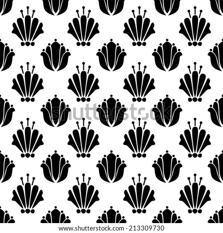 Abstract seamless pattern with silhouettes flowers in black and white. Floral repeating monochrome background. Endless print texture. Fabric design. Wallpaper - raster version - stock photo