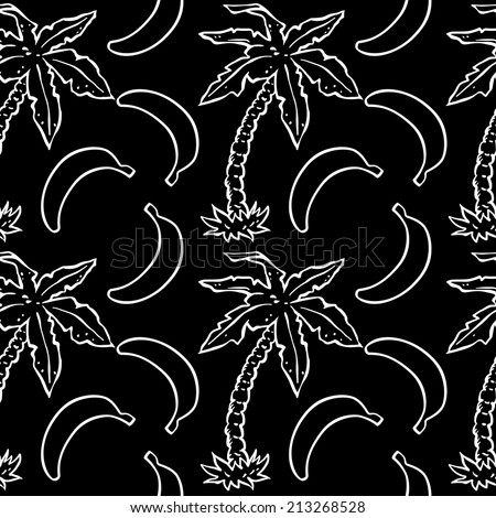 Abstract seamless pattern with tropical coconut palm trees and bananas in black and white. Floral repeating monochrome background. Endless print texture. Fabric design. Wallpaper - raster version - stock photo