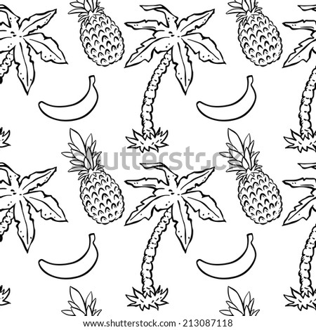 Abstract seamless pattern with tropical coconut palm trees and pineapples and bananas. Floral repeating monochrome background. Endless print texture. Fabric design. Wallpaper - raster version  - stock photo