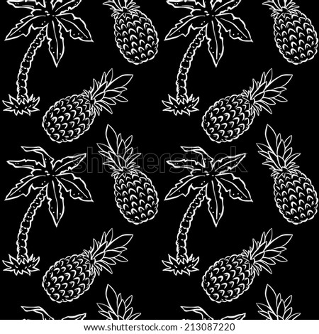 Abstract seamless pattern with tropical coconut palm trees and pineapples in black and white. Floral repeating monochrome background. Endless print texture. Fabric design. Wallpaper - raster version - stock photo