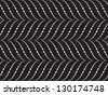 Abstract seamless pattern with white waves on black background - stock photo
