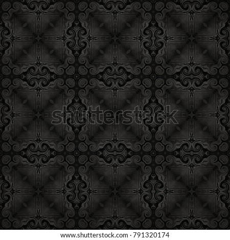 abstract seamless raster black and white pattern in oriental style for wallpaper, background, decor for tapestries, carpet
