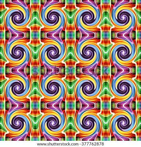Abstract seamless twirl pattern background - stock photo