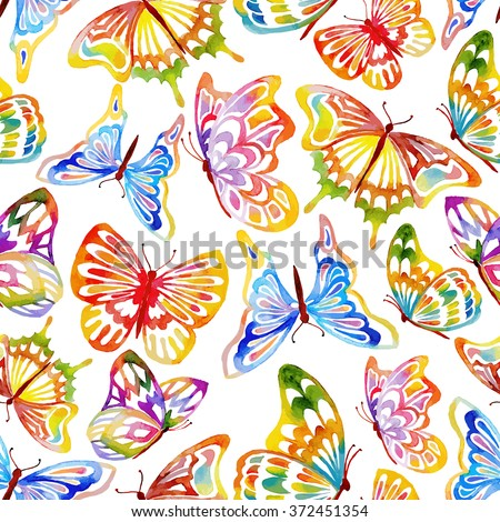 Abstract Seamless Watercolor Butterfly Pattern. Hand Drawn Illustration. - stock photo