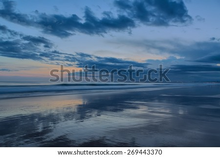 Abstract seascape at sunset. In cold colors.