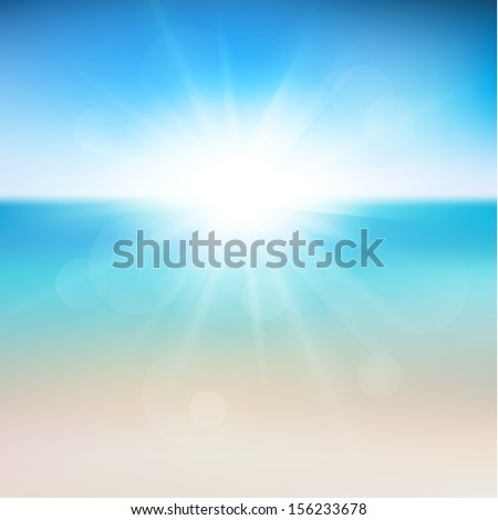Abstract seashore illustration with defocused lights - raster version - stock photo