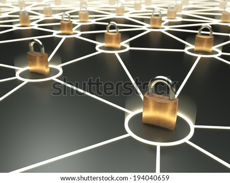 Abstract secure network concept on dark background