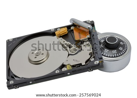 Abstract: Secure your data. Hard disk with padlock on white background with clipping path. Selective focus. - stock photo