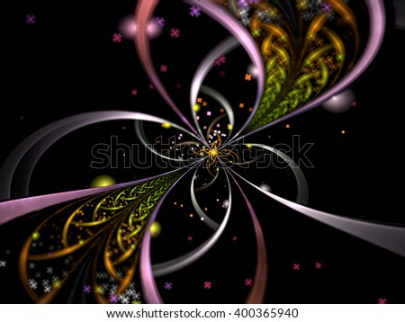 Abstract selective focus background - computer-generated image. Surreal flower like brooch with delicate petals and beads. Fractal background or graphic design element  - stock photo