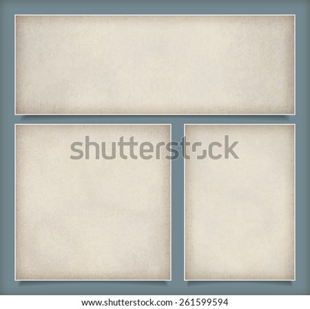Abstract set background with subtle grunge old paper texture - stock photo