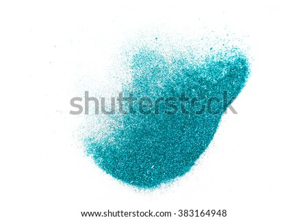 Abstract shape glitter sparkle on white background (center focus and soft blur edge). Shiny powder. Turquoise - stock photo