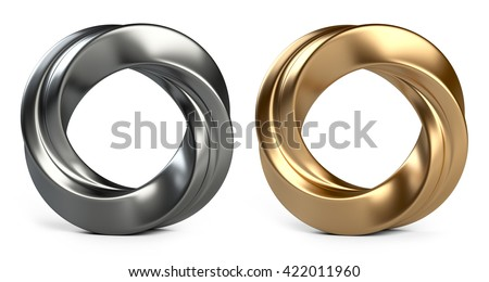Abstract shape, Metallic and golden twisted rings Isolated on white background - stock photo