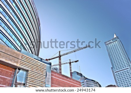Abstract shape of shopping center in Warsaw. Poland - stock photo