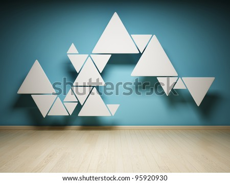 Abstract shape of triangles in interior - stock photo
