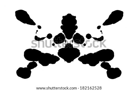 Abstract shape psychological test board Rorschach type - stock photo
