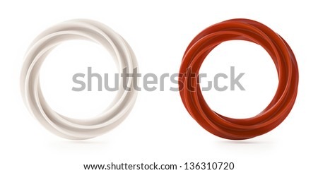 Abstract Shape, White and Red Isolated on White Background - stock photo