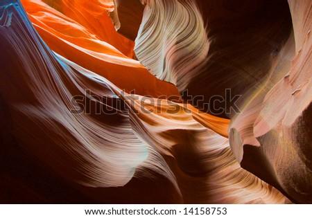 Abstract shapes of Antelope Canyon, Arizona, USA - stock photo