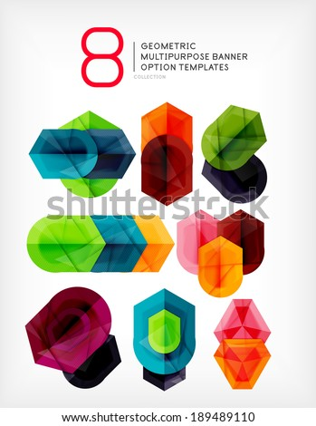 Abstract shapes - stylized geometric shaped option banners - stock photo