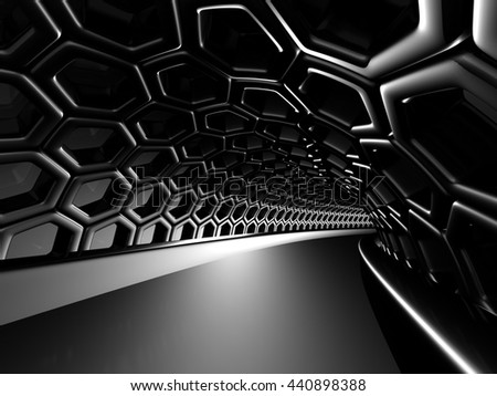 Abstract shining black hole tunnel background. 3d render illustration
