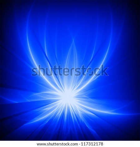 Abstract shining lotus. Blue rays on black background. - stock photo
