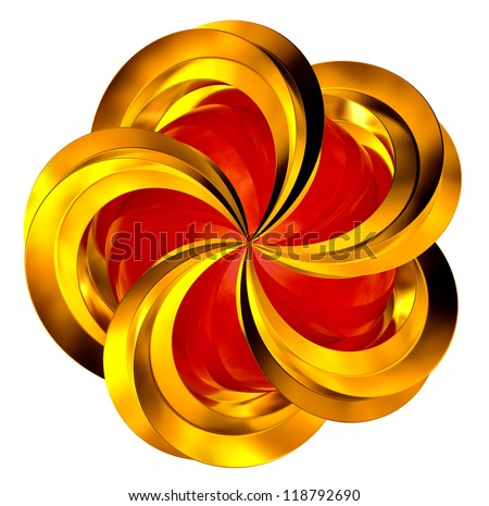 abstract shiny golden object with red middle in motion - stock photo