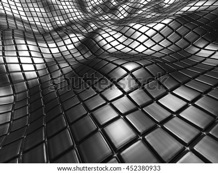 Abstract Shiny Silver Metal Background. 3d Render Illustration
