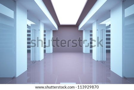 Abstract shop interior with glass doors and a showcase.