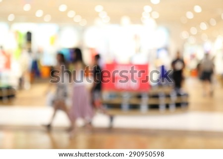 Abstract shopping mall background with blurred people and store. - stock photo
