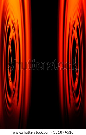 Abstract Shot Of Stereo Speakers Membranes Positioned Face To Face - stock photo