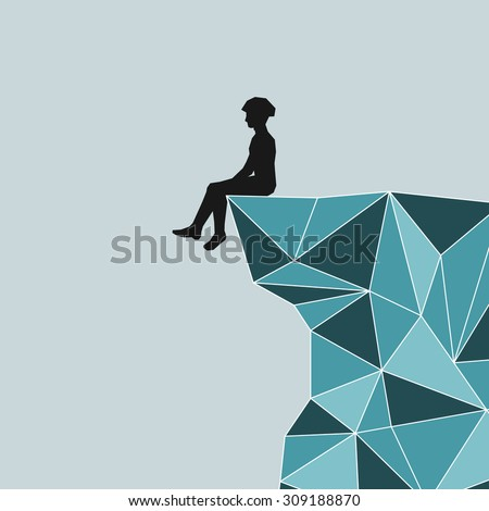 Abstract silhouette climber in helmet sitting on the edge of the mountain.Blue mountains in the technique Triangle.Man sitting on the edge of cliffs, glaciers, icebergs, mountains over the precipice. - stock photo