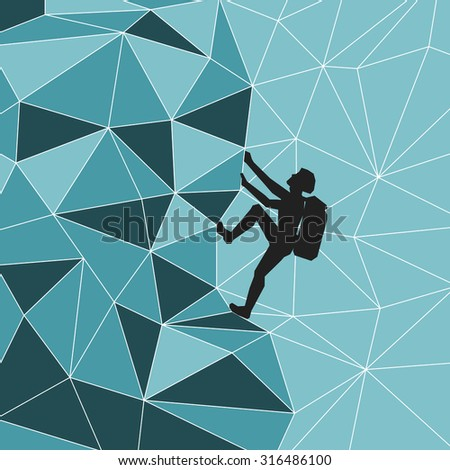 abstract silhouette climber with equipment. Image climber with a backpack on his back up the steep hillside on the background of the mountains of the iceberg. Climber on the glacier mountain. - stock photo