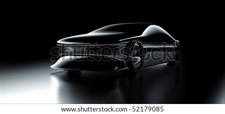 Abstract silhouette of concept car in studio