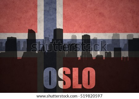 abstract silhouette of the city with text Oslo at the vintage norwegian flag background