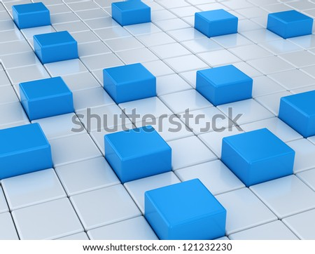 Abstract silver and blue metallic cubes background