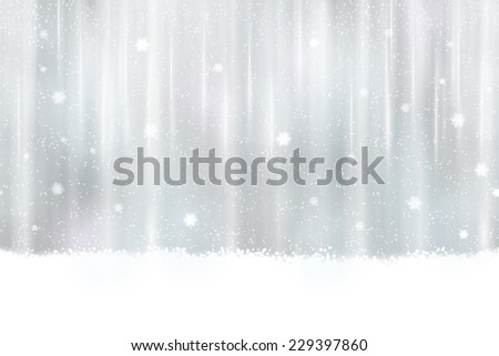 Abstract silver background design. Snowfall and light effects give it a dreamy, soft feeling and a glow perfect for the festive Christmas season. Seamless horizontally - stock photo
