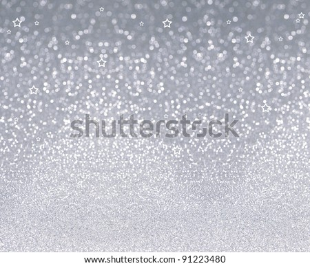 abstract silver background. glitter sparkles and stars - stock photo