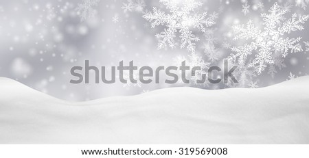Abstract Silver Background Panorama Winter Landscape with Falling Filigree Snowflakes. Snowy Ground with Fresh Snow. Holiday Season Backdrop Template. - stock photo