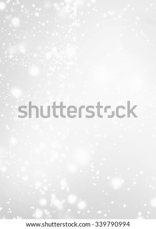 Abstract Silver Background with Christmas Glitter Defocused Bokeh,  Blinking Stars and snowflakes. Blurred Soft colored   - stock photo