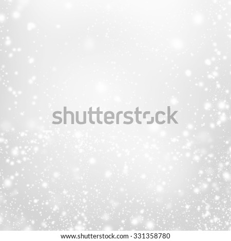 Abstract  Silver Christmas Background with white  lights. Festive  background with Falling Snow. Poster, Banner, Ad, Card or invitation. - stock photo