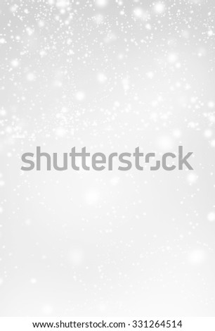 Abstract  Silver Christmas Background with white  lights. Festive   Falling Snow. Poster, Banner, Ad, Card or invitation. - stock photo